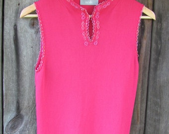 Vintage Ribbed Jersey Top Vest; Pink Sleeveless Top; Women's Top size UK 14 / US 10; Wallis Viscose & Nylon Beaded Top; Hot Pink Top