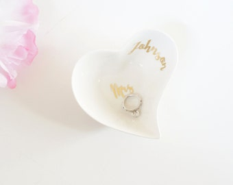 Custom Personalized White Gold Foil Small Jewelry Holder Heart Ring Dish Tray, Unique Wedding Gift, Engagement Bridal Bachelorette Mrs Name