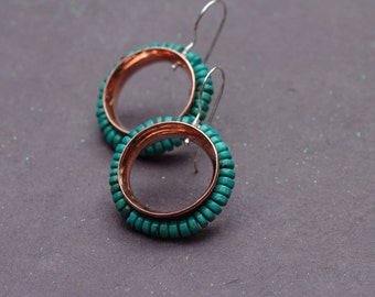 Copper Turquoise Earrings, Copper & Sterling Silver Earrings Mixed Metal O Earrings Real Turquoise Earrings Shiny Copper Earrings