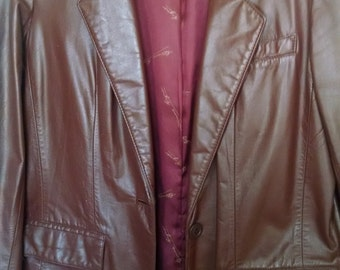 Vintage '70s Leather Jacket Etienne Aigner Sz 10