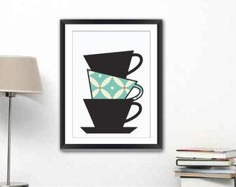 Kitchen art - kitchen wall art - kitchen print - kitchen décor - Tea Cups Kitchen Print - Tea Cups illustration - Modern Kitchen Print