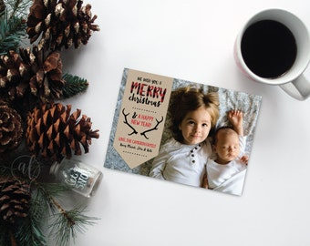 We wish you a merry christmas - buffalo plaid - rustic - photo christmas card - christmas photo card - holiday photo card - photo cards