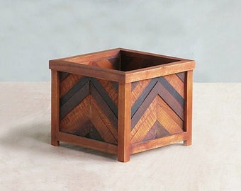 wood planter box herringbone wood planter reclaimed hardwood indoor plants front porch - Wooden Planter Boxes