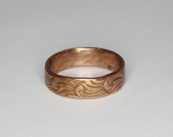 Copper Ring With Scroll Pattern Rustic Elegance Copper Swirl