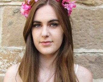 Pink Orchid Flower Headband Hair Crown Coachella Festival Garland Floral X-86