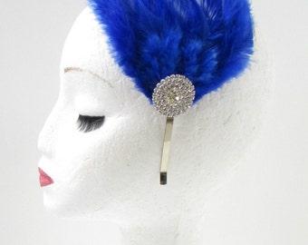 Blue Silver Diamante Feather Fascinator Headband Headpiece Rhinestone 1920s Z04