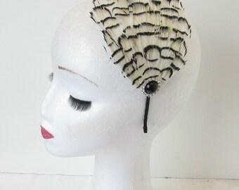 Lady Amherst Pheasant Feather Dress Headdress Ivory Cream Black Feather Headpiece Vintage Fascinator Headband 1920s 1940s Flapper Silver O44