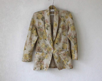 80s Vintage Linen Floral Print in Muted Tones Blazer Women's Cardigan Small Size