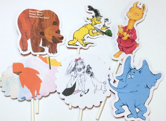 Cupcake Toppers - Story Book,Storybook Baby Shower,Story Book Baby Shower Decoration,Childrens Book Party,Book Theme Baby Shower,Version 2