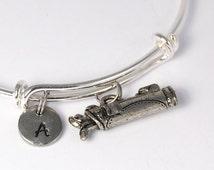 Golf Bag bangle, Golfing charm bracelet, Expandable bangle, Personalized bracelet, Charm bangle, Initial bracelet