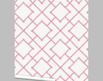 Pink Bamboo Trellis Repositionable Peel 'n Stick Wallpaper Custom Sizes and Colors!