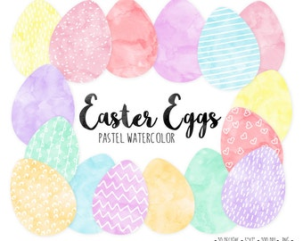 Pastel Easter Egg Clipart. Watercolor Easter Eggs. Pink, Mint, Peach, Yellow Watercolor Spring Clipart. Hand Drawn Doodles.