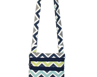 Fabric Cross Body Bag, Small Fabric Purse, Teen Purse, Tween Purse, Fabric Handbag, Chevron Purse, Adjustable Strap Purse, Passport Purse
