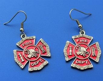 FIRE MALTESE shield EARRINGS,fireman,firefighter,fire fighter,fire dept,maltese cross,1547