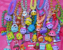 Shopkins Party Favor Pack Of Rainbow Loom Bracelets sets of 4 or 8 or more