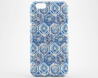 Moroccan Phone Case Marble iPhone 7 iPhone 7 Plus Blue Pattern iPhone 6 Case iPhone 4-5 iPhone 6 Plus iPod Morocco Huawei Marble Galaxy Case