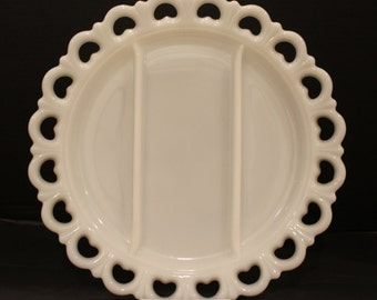 Vintage Anchor Hocking Large Milk Glass Old Colony Lace Edge Serving Platter, Divided Dish, Wedding, Shower (C169)