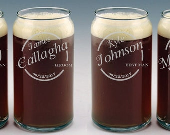 Personalized Beer Can Glass / Groomsmen Gifts / Gifts for the Groom / Wedding Glasses / Custom Engraved Beer Glass / Select ANY Quantity
