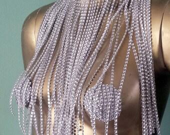 Sexy RHINESTONE BIB NECKLACE Pasties Set Glamorous Crystal Metallic Collar Draping Dancer Showgirl Burlesque Stripper Exotic Drag Queen