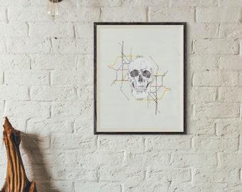 "Skull and Subway Map illustration giclee print 8 x 10"""