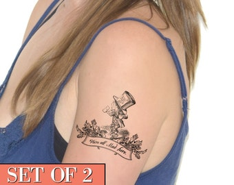 Temporary Tattoo - Alice, Mad Hatter, Geekery, fandom, quote - NO. E27