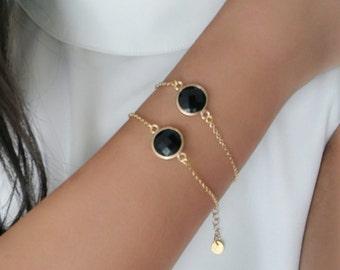 Black And Gold Bracelet , Gold Bracelet , Black Stone Bracelet , Black & Gold