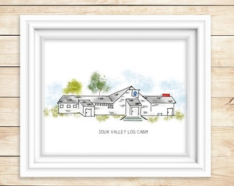 SIOUX VALLEY Log Cabin  Watercolor Print  Sioux Valley Minnesota Mn Historic Art Print Lakefield, Mn Dance Hall