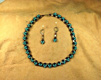 Beaded Turquoise and Copper Necklace Set