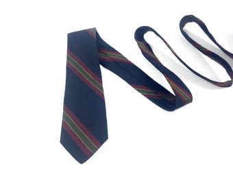 Vintage 1950's Tie / Striped / Damon Tie / Shantung Silk / Navy Blue & Red