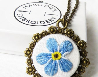Forget me not flower necklace Thread painting necklace hand embroidery pendant Blue necklace