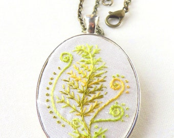 Fern necklace hand embroidery green on white silk french knots.