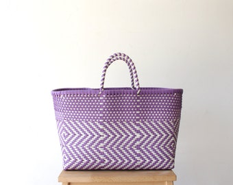 Violet & White handwoven Tote Bag, Mexican Bag, Mexican Tote, Oaxaca Tote, Woven Tote Bag, MexiMexi Bag, Woven Tote, Hand-woven Mexican bag