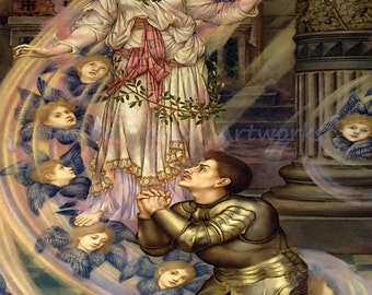 """Evelyn De Morgan """"Our Lady of Peace"""" 1907 Reproduction Digital Print Madonna Mother Mary Angels Cherubs Prayer"""