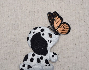 Small Dalmatian - Puppy Dog - Butterfly on Nose - Embroidered Patch - Iron on Applique - 151224-A