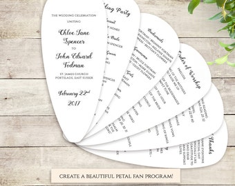 Fan Wedding Program Petal Fan program printable instant download template. Be Mine. Edit, print, trim and tie together | DIY template