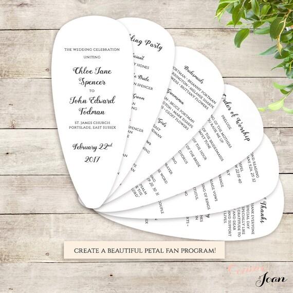 fan wedding program petal fan program printable instant
