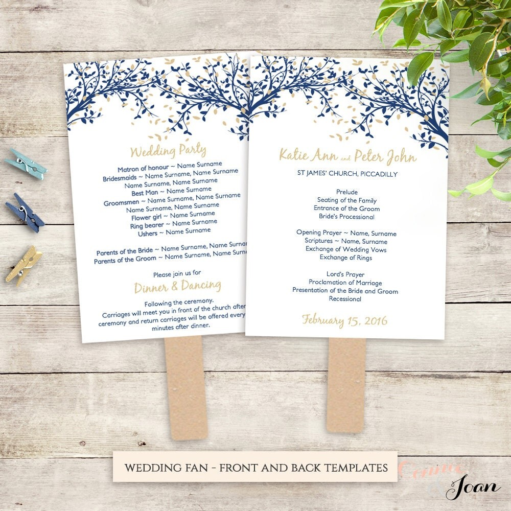 Diy wedding program fan printable template church service any for Church fans template