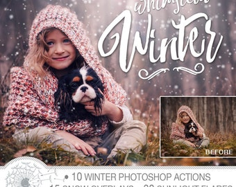 Winter Action & Overlay Pack | Snow Overlays | Winter Photoshop Actions | Sun Flare Overlays | Winter Effects | Instant Download