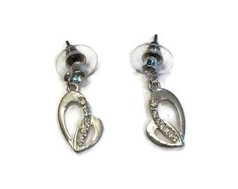 CLEARANCE SALE! Heart Earrings - Silver Heart Earrings - Dangle Earrings - Silver Jewelry