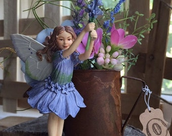 Fairy~ Lilac Fairy (Retired Fairy)  with Rusted Watering Can by Olive ~ Fairy Garden, Fairy, Fae, Faery