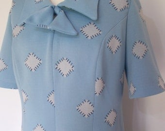 Vintage dress 70s baby blue dress by Leygil of London with pussy bow tie neck size extra large L made in England