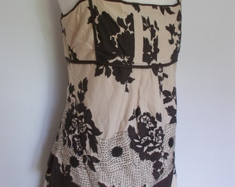 Max Mara cotton skirt with matching vest top in cream chocolate brown floral pattern UK 8 10 Size Small