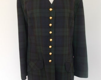 Vintage plaid tartan jacket 80s by Essence green navy checked tartan plaid size XX large