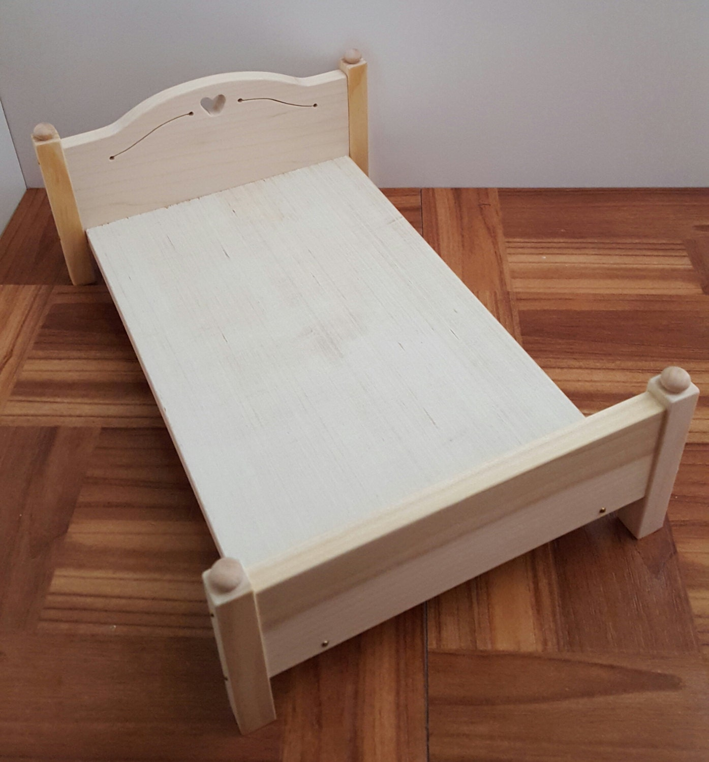 Unpainted 1 6 Scale Bed Poplar Wood Bed Natural Doll