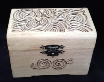 Celtic Spirals on Hand Painted on Wooden Box