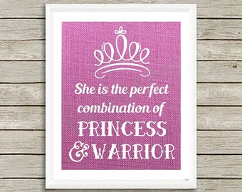 Pink Burlap Princess, Warrior Sign, Wall Hanging