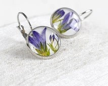 Flower bell earrings Natural earrings Unique gift for mother Botanical earrings Sentimental gift for wife Resin Special jewelry bell jewelry