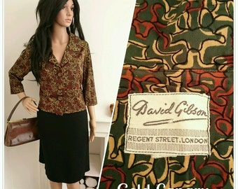 Vintage 50's David Gibson Green Abstract Print Cropped Jacket Top Madmen / UK 16 / EU 44 / US 12