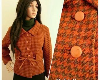 Vintage 50s 60s Orange Wool Checked Tweed Houndstooth Jacket Mod Jackie O / UK 10 12 / EU 38 40 / US 6 8