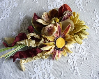 Vintage Velvet Millinery Flowers Brooch Sunflower Daisies Nosegay Rust Gold Chartreuse Corsage Pin Victorian Style
